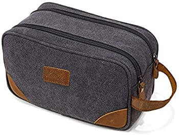 Kemy's Men's Canvas Toiletry Bag with Double Compartments