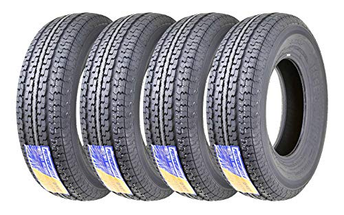 Set of 4 Premium FREE COUNTRY Trailer Tires ST 225/75R15 10PR Load Range E w/Featured Side Scuff Guard