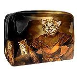 Bolso cosmético del Maquillaje Gato Guerrero blindado marrón Bolsa de Viaje organizadora Impermeable de Gran Capacidad para señoras perezosas 18.5x7.5x13cm