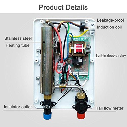 XIAO J Elektrischer Warmwasserbereiter Sofortiger Duschpaneelsystem-Installationssatz Durchlauferhitzer 6KW 220V Das ist heißer Typ Wandmontierter elektrischer Warmwasserbereiter für Badezimmer-Küche