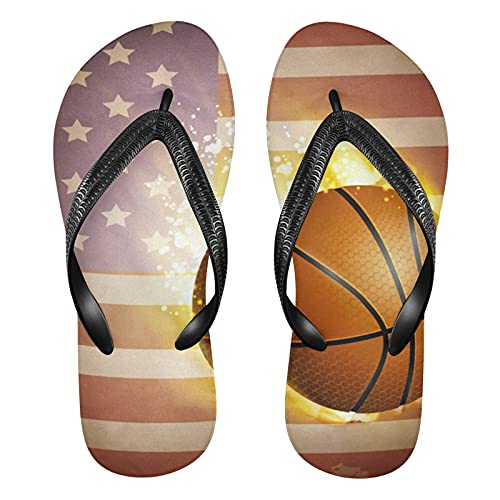 Linomo Sandalias de playa de verano con bandera americana para mujer, color, talla 34.5/37 EU