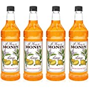 Monin - Mango Syrup, Tropical and Sweet, Great for Cocktails, Sodas, and Lemonades, Gluten-Free, Vegan, Non-GMO (1 Liter, 4-Pack)