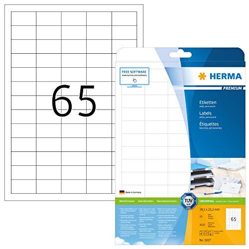 HERMA 5027 Universal Etiketten DIN A4 klein (38,1 x 21,2 mm, 25 Blatt, Papier, matt) selbstklebend, bedruckbar, permanent haftende Adressaufkleber, 1.625 Klebeetiketten, weiß