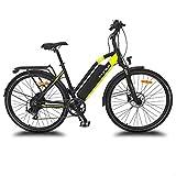 URBANBIKER vélo électrique VTC VIENA (Jaune 28'), Batterie Lithium-ION Cellules Samsung 840Wh (48V et 17,5Ah), Moteur 350W, 28 Pouces, Freins hydraulique Shimano.