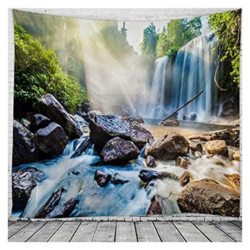 Chenhan Tapiz Espectacular Cascada Tapices de paisajes de Pared para el hogar Deco Sala de Estar Dormitorio de Gran tamaño Decoración de Arte (Color : Navy Blue, tamaño : 180X150CM)
