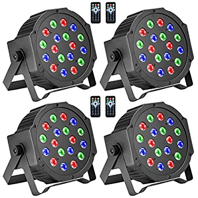 Stage Lights, BSYUN RGB 18 LEDs DJ Lights for Wedding, Party with Remote, DMX-512 Controllable, Sound-Activated - 4pack