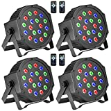 DJ Lights, BSYUN RGB 18 LEDs Professional Sound Activated Stage Lights DMX-512 Controllable Uplighting for Wedding Party with Remote (4P)