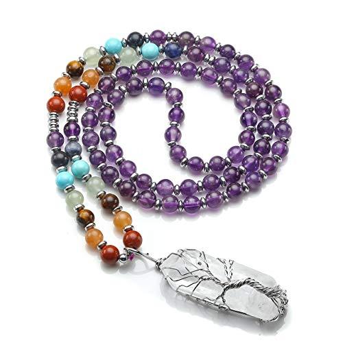 CrystalTears 7 Chakra Kristall Mala Halskette Wire Wrap Baum des Lebens Bergkristall Anhänger Edelstein Lebensbaum Yoga Gebetskette für Frauen Mädchen Reiki Healing Meditation Amethyst