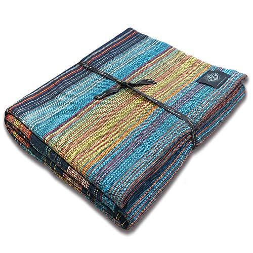 Craft Story Decke Fatima I türkis-blau-orange-gelb gestreift aus 100% Baumwolle I Tagesdecke I Sofa-Decke I Überwurf I Bedspread I Plaid I Picknickdecke I Läufer I 170 x 220cm