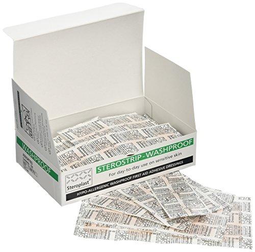 Steroplast 7149F Hypoallergene, waschfeste und transparente Pflaster, Steroplast-Sortiment in Karton (5 Größen), 100 Stück