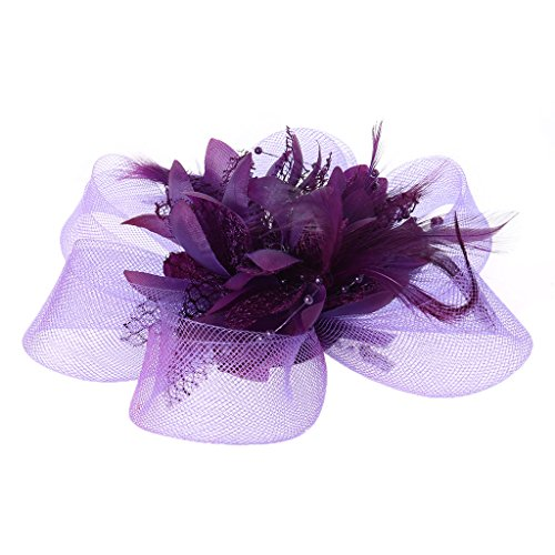 Niumanery Womens Flower Feather Beads Mesh Corsage Hair Clips Fascinator Bridal Hairband Purple