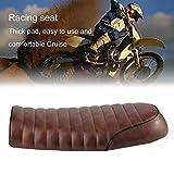 Asiento de café Universal Racer en cuero acolchado impermeable con esponja universal para Honda CG Series. Motocicletas, café
