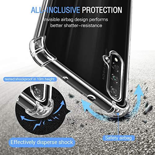 Hülle für Huawei Nova 5T / Honor 20 + 3X Panzerglas Schutzfolie, Transparent Weiche TPU Silikon Handyhülle Anti-Kratzer Stoßfest Durchsichtig Schutzhülle für Huawei Nova 5T / Honor 20 - 2