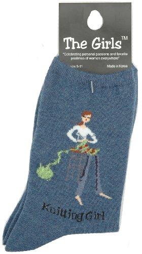 K. Bell Women's Novelty Girl Power Socks, Knitter/Denim, 9 to11