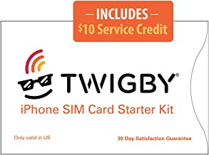 Twigby Unlocked iPhone SIM Card Kit. Compatible with Sprint/Verizon Unlocked iPhone 5c, 5s, SE, 6, 6 Plus, 6s, 6s Plus, 7, 7 Plus. Only from Twigby.