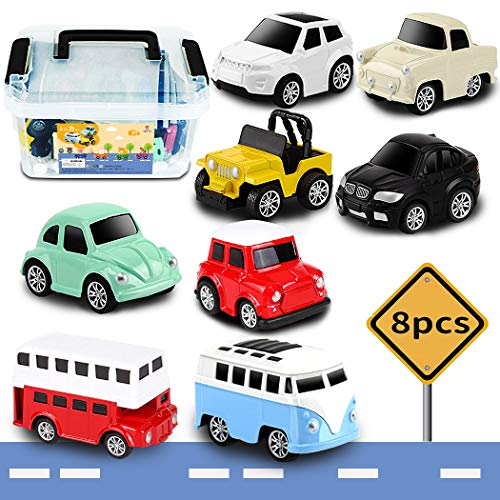 Tagitary ミニカー 知育おもちゃ 8種類 プルバック式 マップ 収納ボックス付き 誕生日プレゼント 子供用おもちゃ 定番玩具 コレクション キッズおもちゃ 入園プレゼント