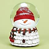 Snowman Head with Red and Green Plaid Scarf Musical 6 Inch Snow Globe Plays 'We Wish You a Merry Christmas'