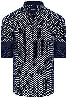 Tarocash Men's Spencer Geo Print Shirt Regular Fit Long Sleeve Sizes XS-5XL for Going Out Smart Occasionwear