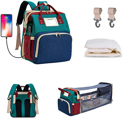 5 in 1 Diaper Bag Backpack with Travel Bassinet Built-in USB Charging Port, Waterproof Foldable Mommy Bag, Changing Station, Changing Pad, Shade Cloth, Stroller Hooks Best Gift for Newborn Babies