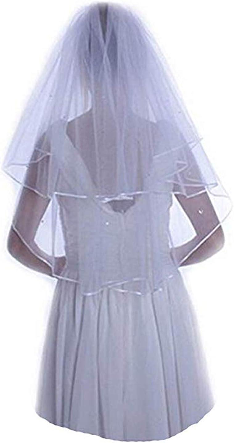 Tsbridal Women's Wedding Veils 2 Tier for Bridal Veils with Beaded