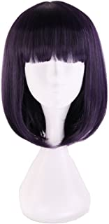 Xingwang Queen Anime Short Straight Purple Black Mixed Cosplay Wig Flat Bangs with Free Cap