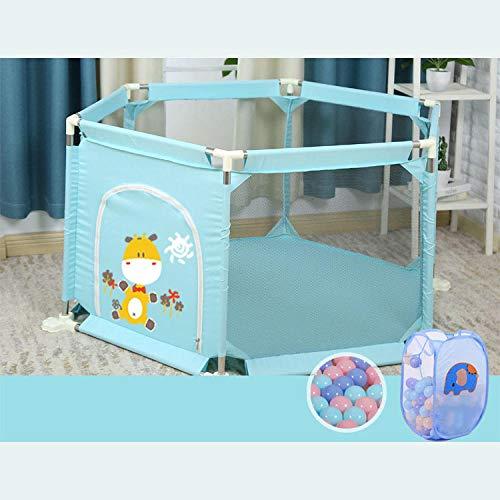 unknow 22 sq ft BlauBällebad für Kinder mit Atmungsaktivem Netz,6 eckig Bällebad Junge für Kinder Kleinkinder Gymnastikmatten Krabbelteppich