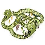 Simpbuy Juego De Juguete para Coches con Pista Flexible De Dinosaurio De 240 Piezas, Pista De Carreras Flexible con 8 Dinosaurios, Juego Jurassic World para 3 4 5 6 Años