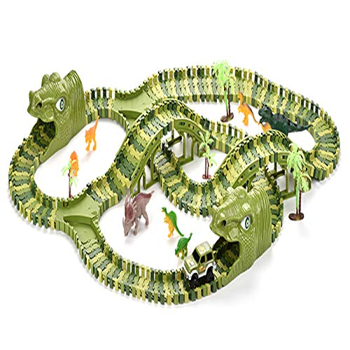 Simpbuy 240PCS Dinosauro Tracce Pieghevole Auto Giocattolo Set, Pista Flessibile con 8...