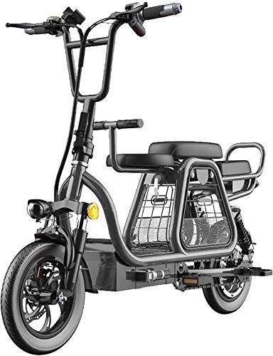 Bici electrica, 350W plegable bicicleta eléctrica de 12' bicicletas eléctricas for adultos 48V 8AH batería de litio Electric Mountain scooter con la cesta del almacenaje y desmontable Kid Asiento Top