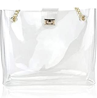 Clear Vinyl Plastic Bag Tote PVC Medium Shopper Shoulder Transparent See Through