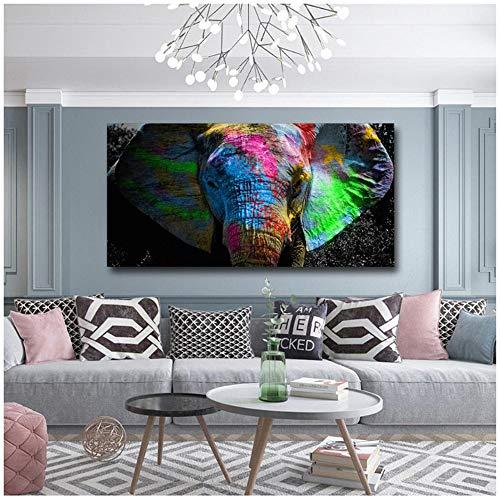 nobrand Bunte Afrikanische Elefanten Leinwand Malerei Wandkunst Tier Ölgemälde Riesige Größe Wand Drucke Poster Für Wohnzimmer Room-70x140 cm Kein Rahmen
