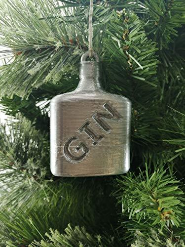 Jabtek GIN fles gevormde kerstboom Bauble zilver