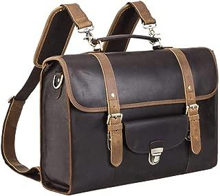 Leatherman Men's Vintage Leather Messenger Satchel Convertible Casual Outdoor Travel School Table Case Multi-Purpose 15.6 Inch Laptop Business Briefcase Backpack Shoulder Bag Tote Handbag Brown