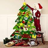 Ibello Albero di Natale in Feltro Fai-da-Te con Catema Luminosa 50LED in Rame 32 Pezzi Intercambiabili con Vari Disegni Regalo per Bambini Ideale Decorazione per Parete o Porta