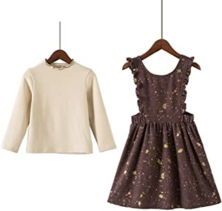 N/X Girl's Suit for Spring Children's Dress Skirt+Long-Sleeved T-Shirt Two-Piece Clothes Sweet Suit
