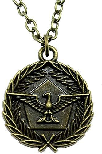 LKLFC Necklace Women Necklace Men Necklace 28mm Eagle Tag Round Pendant Necklace for Women Antique Bronze Color Vintage Necklace Jewelry Pendant Necklace Girls Boys Gift