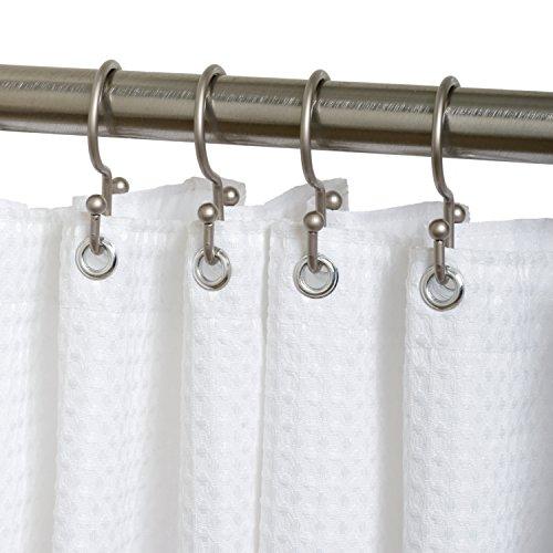 Zenna Home SS88ALBN, NeverRust Aluminum Double Shower Hooks, Nickel