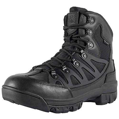 FREE SOLDIER Outdoor Men's Tactical Military Combat Ankle Boots Water Resistant Lightweight Mid Hiking Boots (Black + Full Grain Leather, 10.5 US)