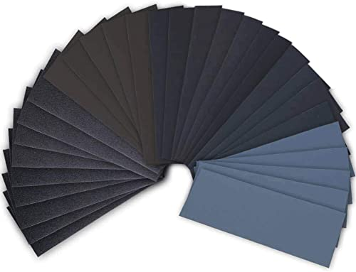 42 Pcs Wet Dry Sandpaper 120 to 3000 Grit Assortment 9 3.6 Inches Abrasive Paper Sheets for Automotive Sanding Wood F...