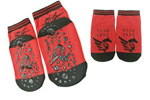 TUKA [4 Pares] Calcetines Antideslizantes para niños niñas 2 a 3 años, Unisex ABS Calcetines con botones Tamaño 23-26. para yoga, Danza, trampolín, Fitness, hogar. Rojo, TKB7001-red-S-4X