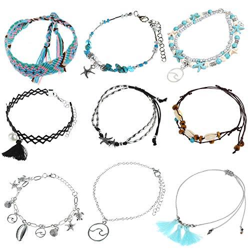 MWOOT 9 Piezas Pulsera Tobillera Mujer, Pulsera de Tobillo Ajustable Conchas Estrellas de Mar Hilo Verano Playa Bracelet Partido Accesorios