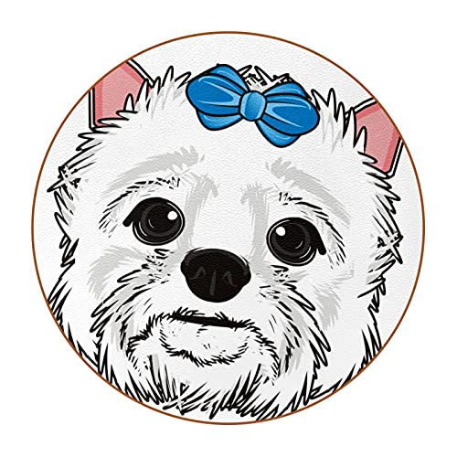 Dog with blue bow on his head, 6Pcs Round Drink Coasters Tabletop Protection Mat for Cups, Office, Kitchen Non-Slip Non-Fade