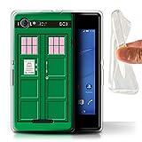 Hülle Für Sony Xperia E3 Tardis Handyzelle Kunst Grün Design Transparent Dünn Weich Silikon Gel/TPU Schutz Handyhülle Hülle