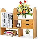 zicheng maoyi Desktop Bookshelf Bookcase with Drawers, Adjustable Desk Storage Organizer Display Shelf Rack Holder for Home Office Desk Supplies Organiser