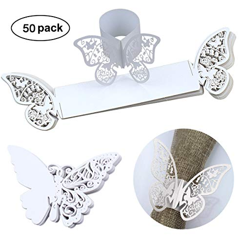 50pack Serviettenringe & Tischkarten Schmetterling Papier Hochzeit Platzkarten Laser Cut Hohl Dekoration für Glas, Taufe Bankett Geburtstag Party Feste Dinner Tischdeko (Weiß)