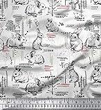 Soimoi Weiß Baumwolle Batist Stoff abstrakt & Kaninchen