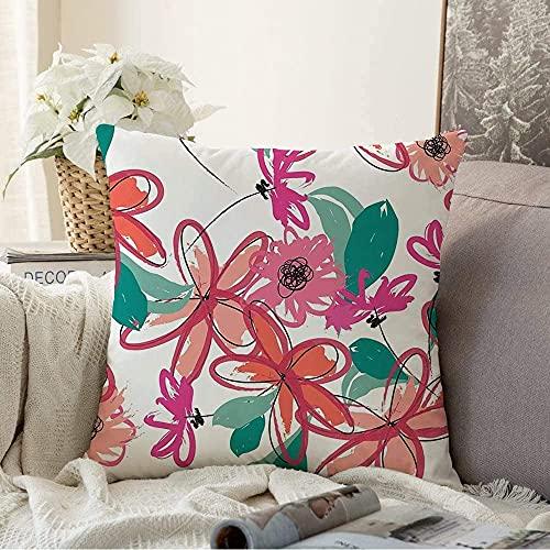 BONRI Almohada Flores Decorativas Dibujo Arty Abstracto Dibujado a Mano Elegante Pincelada Floral Club Naturaleza Follaje Forma Pop Cuadrado Cojín Acogedor Funda de Almohada para sofá, 16'x 16'
