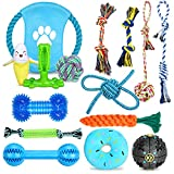 Sotor Dog Toys Indestructible Chew Toy Aggressive Puppy Teeth Cleaning Interactive Tug of War Toys 15ct