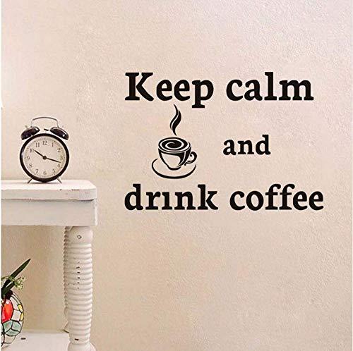 Cortar dibujos animados mantener la calma y beber café etiqueta de la...
