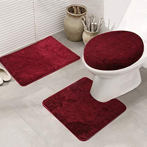 ele Eleoption Badezimmer Set, rutschfeste Badematte und WC-Vorleger-Set, schnelltrocknend, weich, wasserabsorbierend,WC-Garnitur, 3-teilig, weinrot, 50 x 80 cm